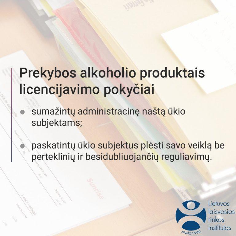 Prekybos alkoholio produktais licencijavimas.