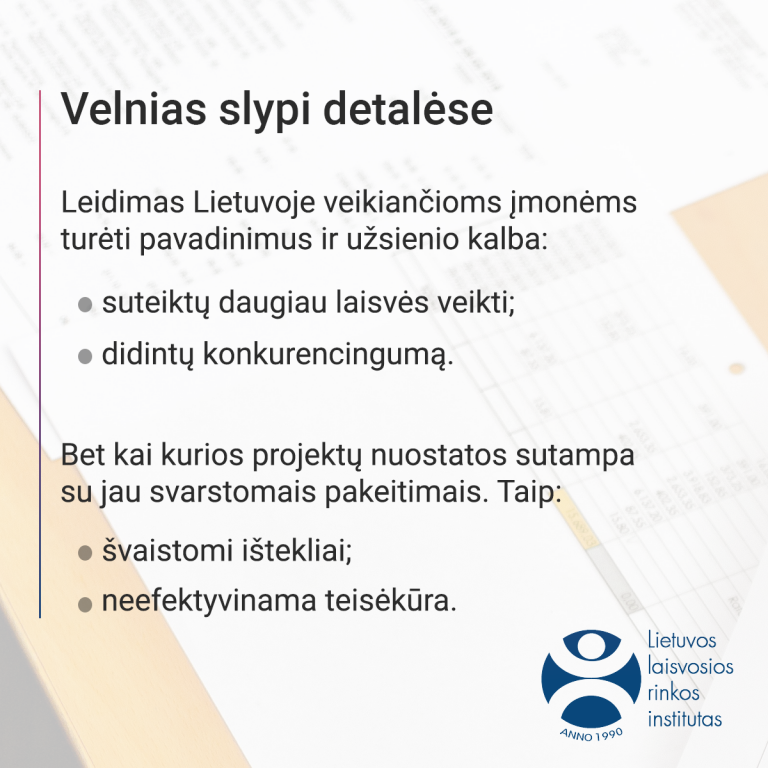Leidimas Lietuvoje veikiančioms įmonėms turėti pavadinimus užsienios kalba.